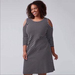 Lane Bryant cold shoulder striped dress